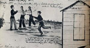 mémoire pictographique de Amos Bad Heart, sur le meurtre de Crazy Horse